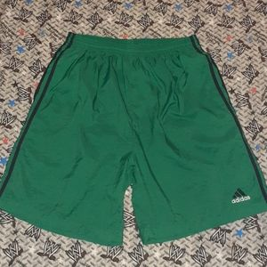 90s Adidas Nylon Shorts Vintage Green 3 Stripes